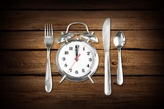 Lunch Break. Lunch Clock Food Time Silverware Meal Stock Photos