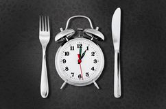 Lunch. Break Clock Food Time Silverware Meal Stock Images