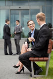 Lunch break at a corporation. A men and a womam heving a break for lunch Stock Photo