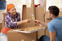 Lunch break at moving house Royalty Free Stock Image