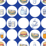 Lunch, breakfast and fast food seamless pattern Stock Images