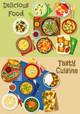 Lunch and breakfast menu icon set design Stock Image