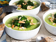 Lunch with broccoli soup stock photos