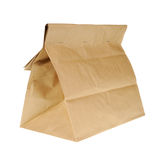 Lunch brown recycle paper bag isolated on white background. Royalty Free Stock Photos