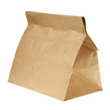 Lunch brown recycle paper bag isolated on white background. Royalty Free Stock Photo
