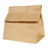 Lunch brown recycle paper bag isolated on white background. Royalty Free Stock Image