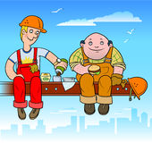 Lunch builders Stock Photo