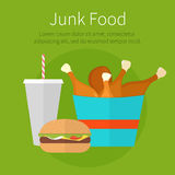 Lunch chicken bucket, burger and soda takeaway. Fast food. Junk Stock Photos