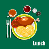 Lunch with chicken leg, sauce, noodles and tea Royalty Free Stock Images