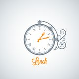 Lunch clock concept background Royalty Free Stock Image