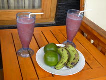 Lunch consisting of four fruit and shakes Royalty Free Stock Images