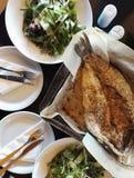 Lunch of diner voor twee met verse vissen en gezonde groene salade met kool en wortel Royalty-vrije Stock Afbeelding