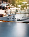 Lunch, dinner, breakfast ready cafe in Paris Stock Image