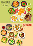 Lunch and dinner dishes icon set for food design Royalty Free Stock Photography