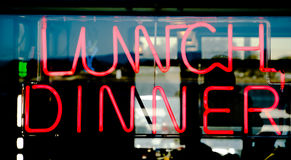 Lunch Dinner sign. Traditional american style diner neon sign Stock Photography