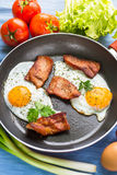 Lunch,Dinner,Supper. Breakfast or dinner or lunch with eggs bacon and a few tomatoes Royalty Free Stock Photography