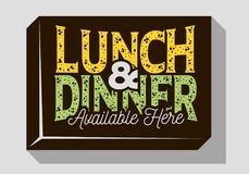 Lunch And Dinner Typographic Sign Design For Pubs Restaurants Bars For Promotion.   Royalty Free Stock Photos
