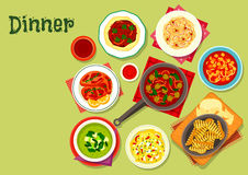 Lunch dishes icon with fruit dessert. Lunch dishes icon with beef chilli on flatbread, pasta with pepper and cheese, tomato olive sauce, cabbage salad with fig Stock Image