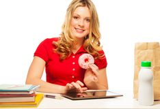 Lunch donut break Royalty Free Stock Photo