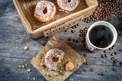 Lunch with donuts and coffee Stock Photography