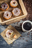 Lunch with donuts and coffee Royalty Free Stock Image