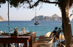 Lunch at Es Vedra, Ibiza Island (Cala D'Hort). Nice place to be for a romantic dinner royalty free stock photos