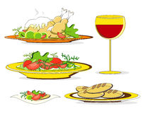 Lunch food with chicken salad wine and bread. Lunch food with roast chicken salad wine and bread Royalty Free Stock Photography