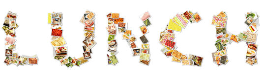 Lunch Food Collage. Photos in Letters Shaped Stock Images