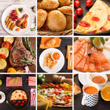 Lunch food collage. Food collage from photos of different prepared food for lunch Stock Photography
