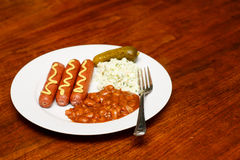 Lunch of Franks and Beans Royalty Free Stock Photography