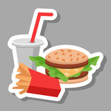 Lunch french fries, burger and soda. Flat design. Vector illustration of fast food Royalty Free Stock Images