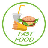 Lunch french fries, burger and soda. Flat design. Vector illustration of fast food Royalty Free Stock Image