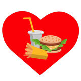 Lunch french fries, burger and soda. Flat design. Vector illustration of fast food Royalty Free Stock Photography