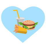 Lunch french fries, burger and soda. Flat design. Vector illustration of fast food Stock Photography