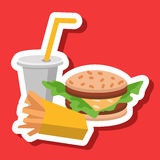 Lunch french fries, burger and soda. Flat design. Vector illustration of fast food Stock Photos