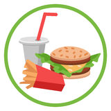 Lunch french fries, burger and soda. Flat design. Vector illustration of fast food Stock Images