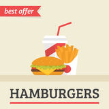 Lunch french fries, burger and soda takeaway Stock Images