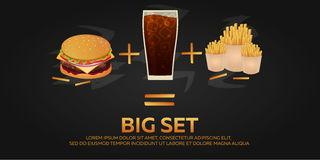 Lunch with french fries, burger and soda takeaway on isolated background. Big set. Fast food. Vector Illustration. Royalty Free Stock Photography