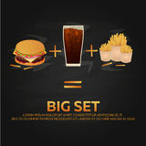 Lunch with french fries, burger and soda takeaway on isolated background. Big set. Fast food. Vector Illustration. Royalty Free Stock Images