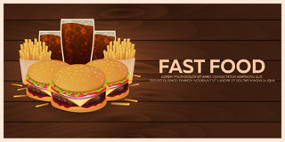 Lunch with french fries, burger and soda takeaway on isolated background. Wood texture. Fast food. Vector Illustration. Stock Images