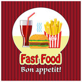 Lunch with french fries, hot dog and soda. Fast food. Flat design. Vector Illustration Stock Photos