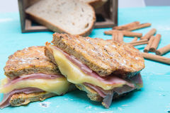 Lunch of a grilled cheese sandwich Stock Photography