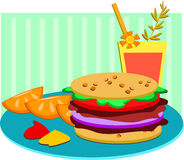 Lunch of Hamburger, Fruit, and Drink Royalty Free Stock Photo