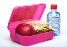School Lunch Box. Lunch healthy eating homemade sandwich food isolated on white lunch box stock image