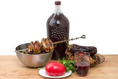 Lunch with homemade red wine Stock Image