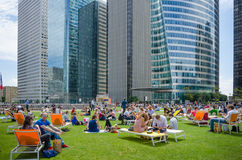 Lunch hour at La Defense in Paris Stock Photography