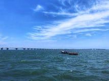 Bridge / Sea / Boat / Cloud / Blue royalty free stock images