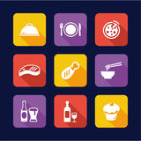 Lunch Icons Flat Design Stock Images