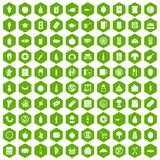 100 lunch icons hexagon green. 100 lunch icons set in green hexagon isolated vector illustration Stock Photo