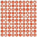 100 lunch icons hexagon orange Royalty Free Stock Image